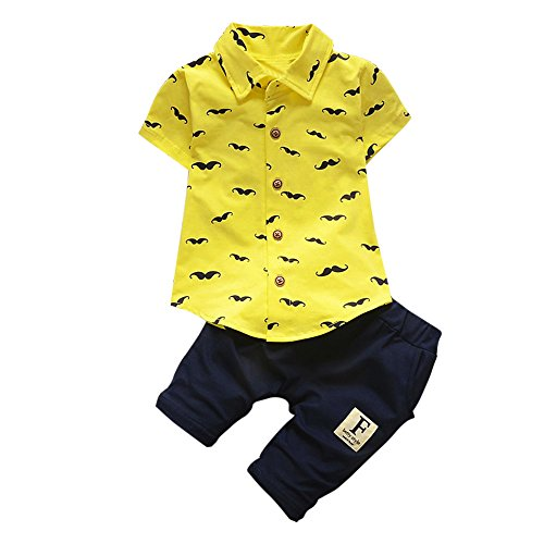 ❤️ Mealeaf ❤️ Toddler Outfit Baby Boys T Shirt Beard Print Tops + Shorts Pants Clothes Set 0-3t Yellow
