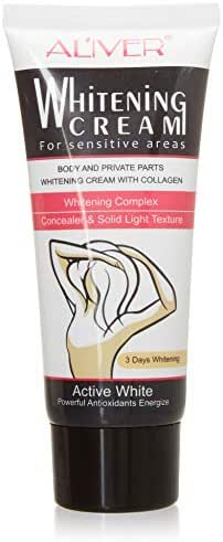 Quick Whitening Cream for Sensitive Areas, Collagen and Milk Complex Whitening and Rejuvenating Body Skin Makeup Cosmetic (Aliver)