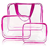 3pcs Clear Portable Makeup Cosmetic Toiletry Travel Bath Wash Storage Bag Transparent Waterproof Pouch Organizer Make Up…