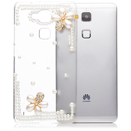 iCues | Compatible with Huawei Ascend Mate 7 | Pearl Flower Case Clear | [Screen Protector Included] Crystal Diamond Clear Cover Rhinestone Shell Bling Glitter Women Girl Floral ()