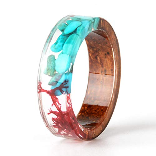 (NDJEWELRY Unique Handmade Wood Ring with Turquoise and Red Seaweed Insided Transparent Resin Band Ring Best Gift for Her Size)