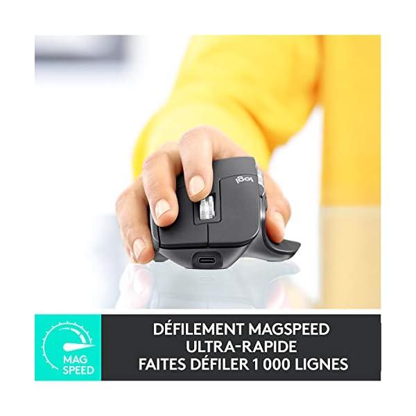 Logitech MX Master 3 Advanced Souris sans fil, Récepteur USB Bluetooth/2.4GHz, Défilement Rapide, Suvi 4000 DPI Toute…