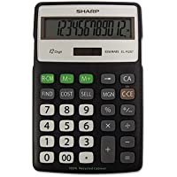 Sharp ELR287 Recycled Calculator - 12 Character(s) - LCD - Battery/Solar Powered - 0.6quot; x 4.3quot; x 6.9quot; - Black, Silver