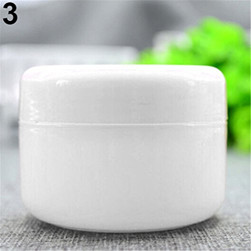 100 Ml Pot - Buyanputra 5Pc Set Plastic Makeup Travel Pots 20/50/100ml Round Cosmetic Jars Container size 100 (White)