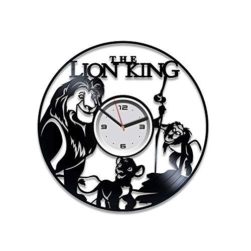 Kovides Simba Vinyl Record Wall Clock Disney Clock Lion King Vinyl Wall Clock Lion King Birthday Gift for Kids Disney Vinyl Clock Disney Gift Lion King Wall Clock Modern Lion King Gift Lion King Clock
