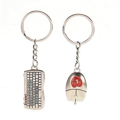 Keyboard & Mouse Key Ring Porte-clés pour Couples / Lovers dans Set