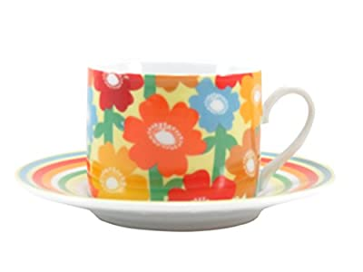 Coffee Tea Cup with Saucer Bright Floral Multi-Colored 4 fl oz (2 Piece)