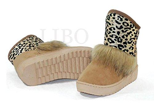 Plat Patchwork Cheville Chaud Sequin Hiver De Neige Gaorui Botte Chaussures Les Léopard Marron Mode Fourrure La Femmes AZfZ7xX