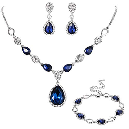 BriLove Women's Wedding Bridal Jewelry Set Crystal Teardrop Y-Necklace Tennis Bracelet Dangle Earrings Set Navy Blue Sapphire Color Silver-Tone by BriLove