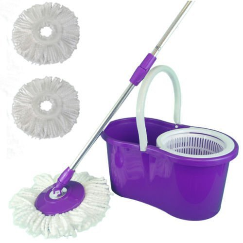 360° Easy Magic Floor Mop Bucket 2 Heads Microfiber Spin Rotating Head Purple (Swifter 360 Starter Kit compare prices)