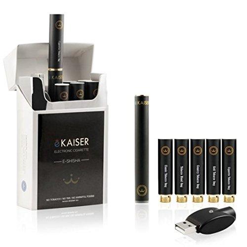 E-Zigarette Starterset, E-Shisha, Wiederaufladbar, 5 x Premium E Tabak Liquids, Neue und verbesserte Version