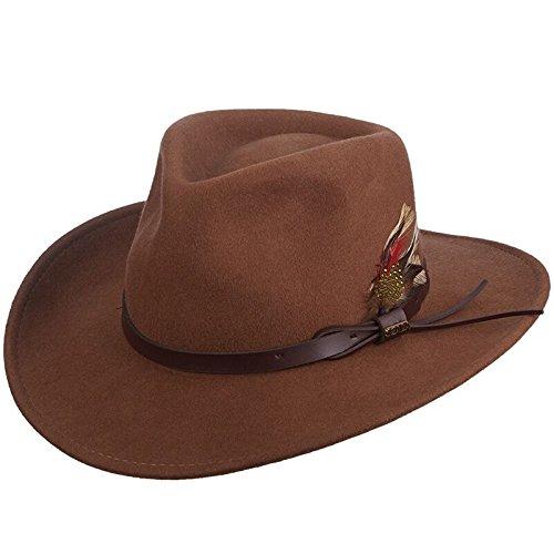 (Scala Classico Men's Crushable Felt Outback, Pecan, Medium)