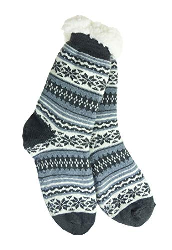 (Snowflake Sherpa Thermal Knit Slipper Socks with Non-Slip Grippers (Adult-Youth Dark Gray/Gray))