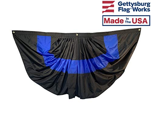 Gettysburg Flag Works 3x6' Pleated Thin Blue Line Police Fan Bunting, All-Weather 200 Denier Nylon, Proudly Made in The USA (Weather Drapes All)