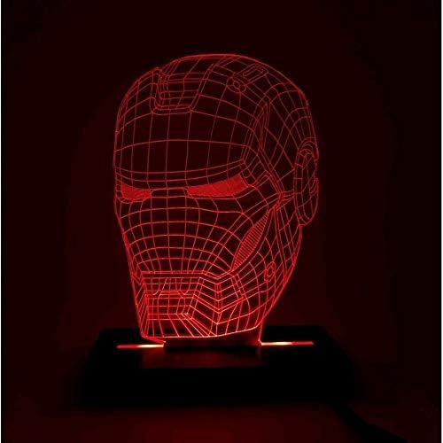 Abajur Luminária Homem De Ferro LED 3D - Vermelho