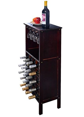 K&A Company Wine Cabinet Bottle Rack Storage Holder Bar Kitchen Wood Home Liquor Glass Decor Under Bottles Furniture Wooden Burgundy for 20 Bottles