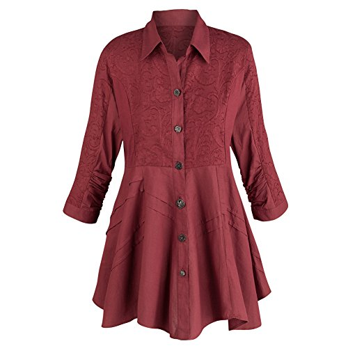 Women's Tunic Top - Soutache Embroidered Wine Colored Button Down Blouse - 1X