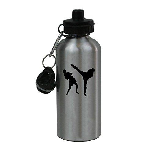 Personalized Custom Muay Thai Aluminum Silver Finish 20 Ounce Water Bottle Customizable by CustomGiftsNow