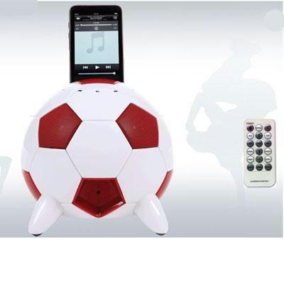 Speakal mi-Soccer 2.1 Stereo Speakers and Docking Station with 3 Speakers for iPod (Red/White) from Speakal