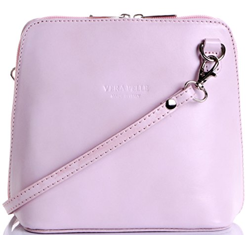 Italian Leather, Baby Pink Small/Micro Cross Body Bag or Shoulder Bag Handbag. Includes Branded a Protective Storage Bag.
