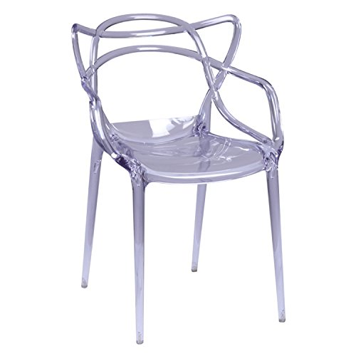 Fine Mod Imports Stackable Clear ABS Plastic Brand Dining Chair for Indoor Outdoor Use
