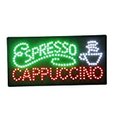 LED Coffee Cafe Espresso Cappuccino Open Light Sign Super Bright Electric Advertising Display Board for Message Business Shop Store Window Bedroom (27 x 15 inches)