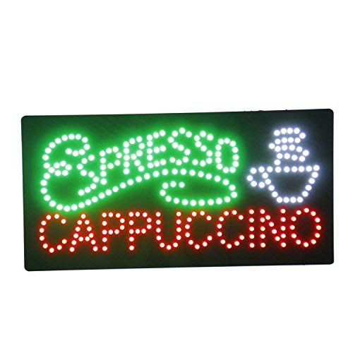 HIDLY LED Coffee Cafe Espresso Cappuccino Open Light Sign Super Bright Electric Advertising Display Board for Message Business Shop Store Window Bedroom (27 x 15 ()