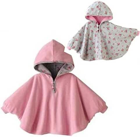 Tailloday Baby Kids Toddler Double-side Wear Hooded Cape Cloak Poncho Hoodie Coat