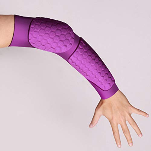 ZHU IN SY Outdoor Mountaineering Lycra Armor Football Basketball Elbow Sleeve Sportswear Supplies.Breathable, Promote Internal Circulation, Moisturizing, Close-Fitting, Protection. (Purple, M)