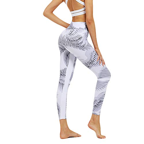 JOFOW Leggings Womens Comic Wings Feather Plumage Print Skinny Stretch Long Sport Pants High Waist Casual Fit Workout Trouser (S,Cream) - Gaucho Distressed Western Boot