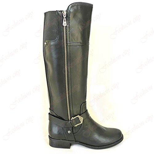 Buckle Riding Aaishaz Heel Boots {4} New Flats 786 Decorative Low Stretch Black Elasticated UK Designer q4Uwq