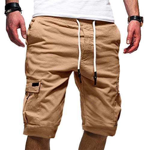 terbklf Men's Casual Shorts Classic Fit Drawstring Summer Elastic Waist Workout Shorts with Pockets Mens Cargo Shorts Khaki