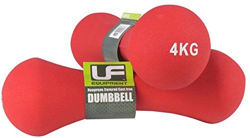 Ufe Bone Dumbbells Neoprene Covered 4.0kg Red