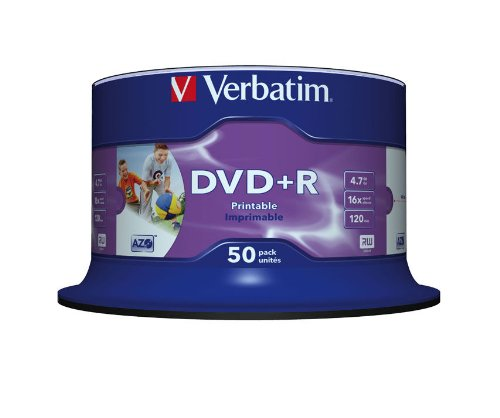 Verbatim DVD+R 16x Speed 4,7GB Printable 50er Spindel DVD-Rohlinge