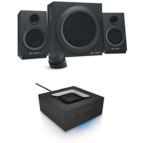 Logitech Z333 80 Watts Multimedia Speakers with Logitech Bluetooth Audio Adapter bundle by Logitech