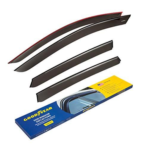 Goodyear Side Window Deflectors for Kia Optima 2016-2020, Tape-on Rain Guards, Window Visors, 4 Pieces - GY003172