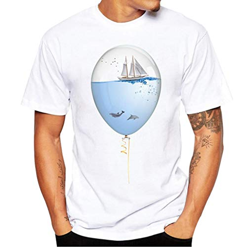 YOCheerful Men Short Sleeve Tee, Mens Unisex Print Tees Shirt White Short Sleeve Top Blouse Jumper Tunic