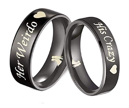 His or Hers (Sold Separate Price for ONE Ring Only) 6mm/4mm Stainless Steel His Crazy and Her Weirdo Couple Wedding Bands Ring -CR161 (Women's Ring (his Crazy), 6)