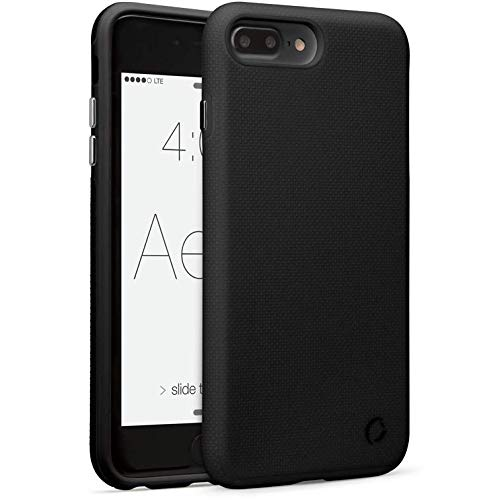 p Cell Phone Case for Apple iPhone 7 Plus, for iPhone 8 Plus - Dual Layer Protection, Soft Inner Silicon, Textured Hard PC Outer Shell - (Midnight Black) ()
