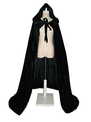 LuckyMjmy Velvet Renaissance Medieval Cloak Cape lined with Satin (Medium, Black) (Black Velvet Capes For Womens)
