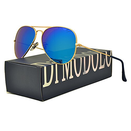 Fashion Blue Reflective Mirror Lens Metal Frame Aviator Sunglasses (Frame: Matte Gold / Lens: Blue flash, - Swagger Sunglasses