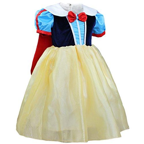 TiaoBug Infant Baby Girls Princess Halloween Costumes Fancy Dress up (2-3, Blue, Yellow)