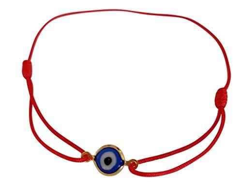 Lucky Charms USA Red Sliding Knot Evil Eye Bracelet for Protection, Mal De Ojo