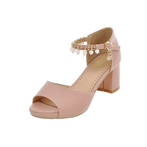 Ouverture Sandales Cuir Pu Unie Femme Agoolar Petite Couleur Rose Boucle qH78tnwZ6