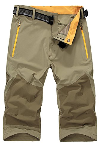- Mr.Stream Men's Classic Bermuda Beach Capri 3/4 Cropped Sweatpants Camping Quick Drying Casual Shorts L Khaki