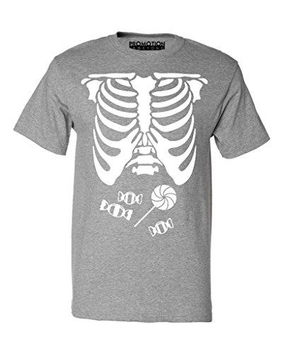 P&B Skeleton Candy Ribcage Halloween Men's T-Shirt, M, H. Grey
