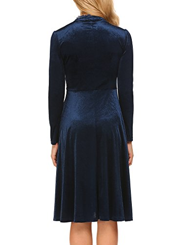 Big Sleeve Long Blue Patchwork Elegant Vintage ACEVOG Dress A Women's Lace Navy Swing Line wqRzYTx