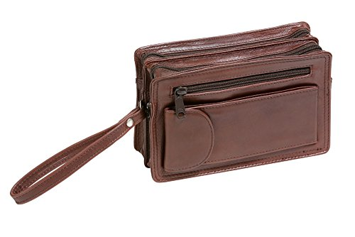 Bolso de mano de hombre LEAS, Piel auténtica, marrón - ''LEAS Men's Bags''
