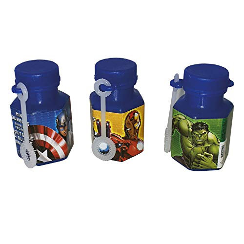 Amscan Avengers Birthday Party Mini Bubble Maker Favor, 0.6 oz, Yellow/Green/Blue
