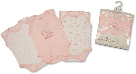 Nursery Time Baby Girl Short Sleeve Bodysuit 9 to 12 Months 3 Pack Pink